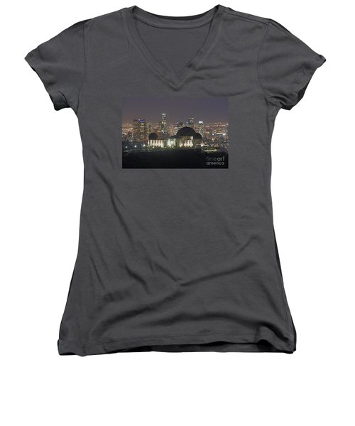 L.a. Skyline Women's V-Neck (Athletic Fit)
