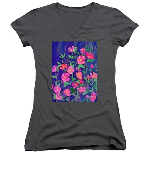 Women's V-Neck T-Shirt (Junior Cut) featuring the mixed media La Vie En Rose by Teresa Ascone