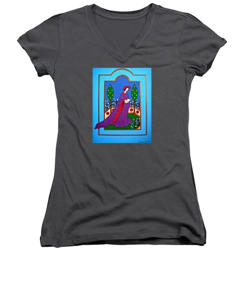 Lady In A Garden Women's V-Neck (Athletic Fit)
