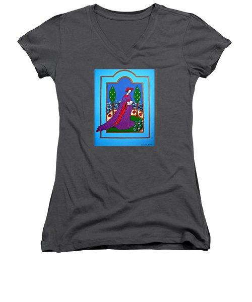 Lady In A Garden Women's V-Neck T-Shirt