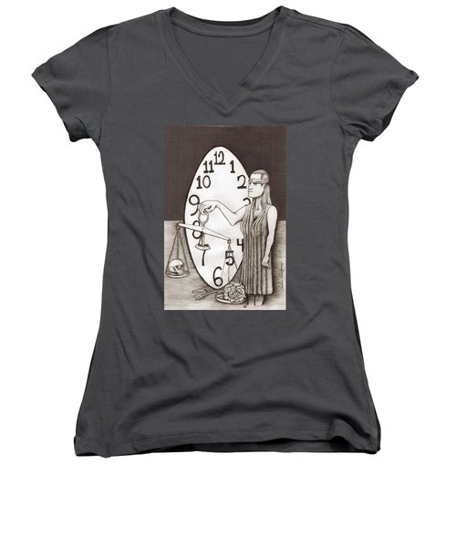 Lady Justice And The Handless Clock Women's V-Neck T-Shirt