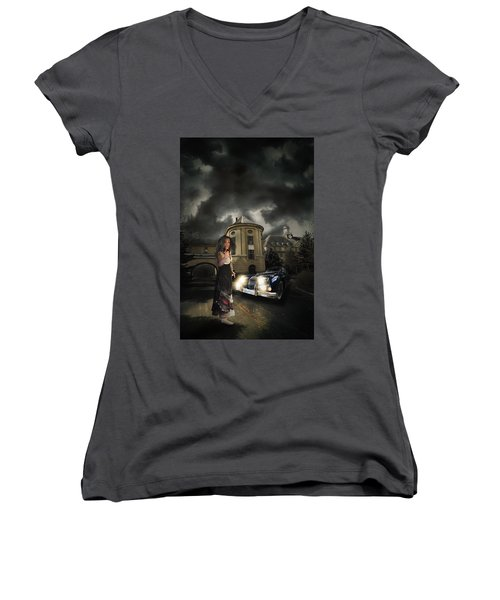 Lady Of The Night Women's V-Neck T-Shirt