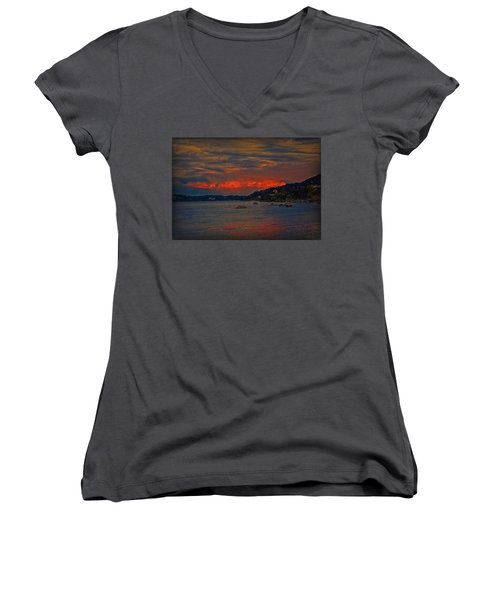 Lago Maggiore Women's V-Neck T-Shirt (Junior Cut) by Hanny Heim