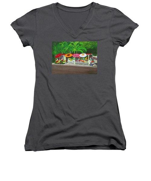 Laguna Beach Flower Stand Women's V-Neck T-Shirt (Junior Cut) by Mike Robles