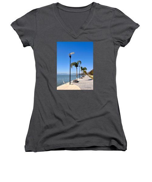 Lake Chapala - Mexico Women's V-Neck T-Shirt (Junior Cut) by David Perry Lawrence