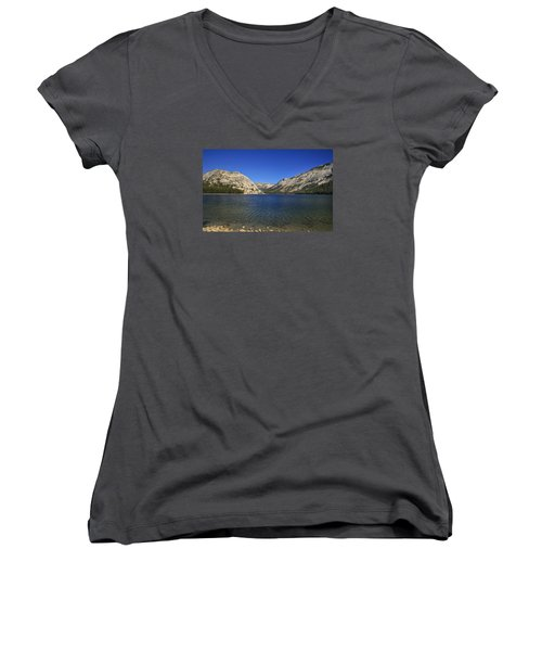 Lake Ellery Yosemite Women's V-Neck T-Shirt (Junior Cut) by David Millenheft