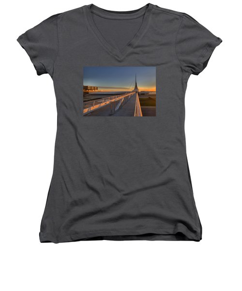 Lake Front View Women's V-Neck (Athletic Fit)