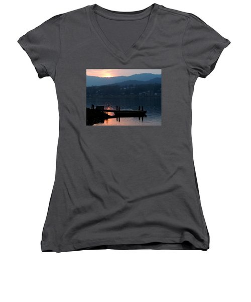 Women's V-Neck T-Shirt (Junior Cut) featuring the photograph Lake J Sunset by Craig T Burgwardt