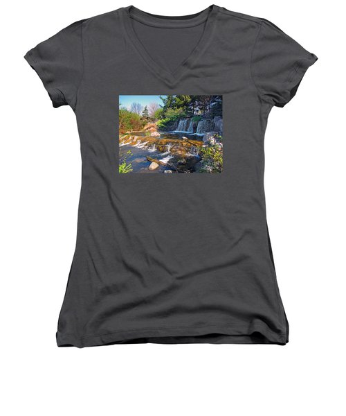 Lake Katherine 1 Women's V-Neck T-Shirt (Junior Cut) by Cedric Hampton