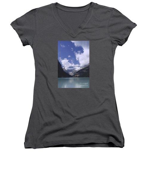 Lake Louise Canada Women's V-Neck T-Shirt (Junior Cut) by Rudi Prott
