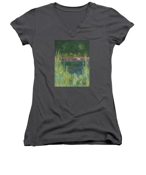 Lake Medina Women's V-Neck T-Shirt (Junior Cut) by Lee Beuther