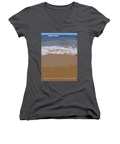 Lake Michigan Shoreline Women's V-Neck (Athletic Fit)