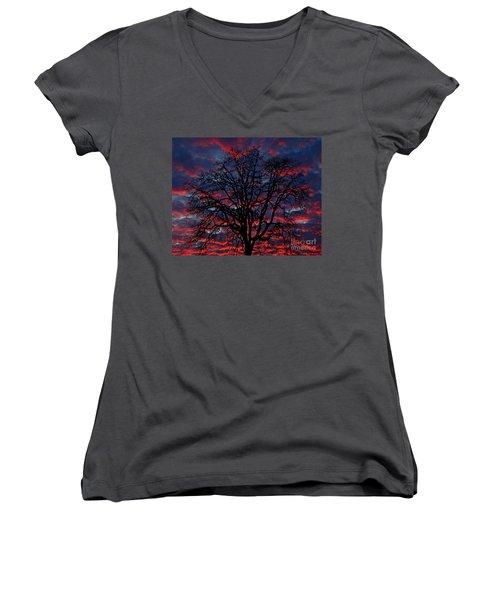 Women's V-Neck T-Shirt (Junior Cut) featuring the photograph Lake Oswego Sunset by Nick  Boren