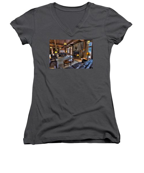 Lake Quinault Lodge Olympic National Park Women's V-Neck T-Shirt (Junior Cut) by Steve Gadomski