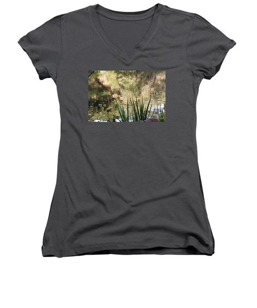 Women's V-Neck T-Shirt (Junior Cut) featuring the photograph Lake Reflections by Kate Brown