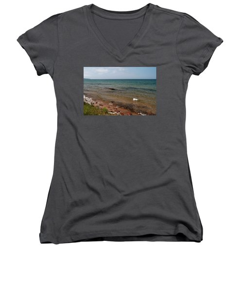 Lake Superior From Marquette Michigan Women's V-Neck (Athletic Fit)