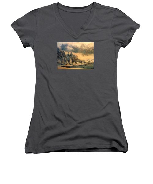 Women's V-Neck T-Shirt (Junior Cut) featuring the painting Lake Tahoe Winter Colors 2 by Donna Tucker
