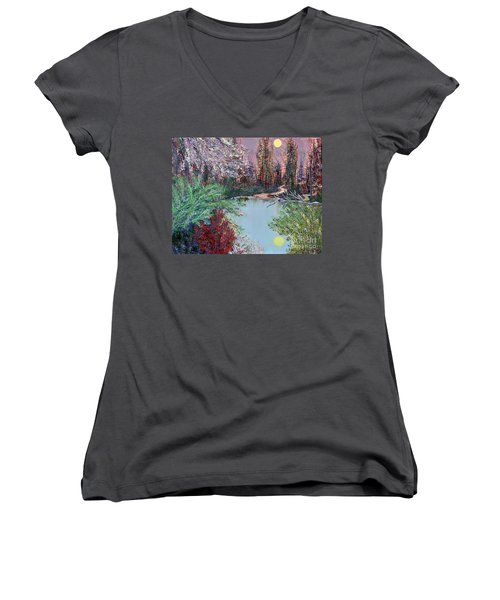 Lake Tranquility Women's V-Neck T-Shirt (Junior Cut) by Alys Caviness-Gober