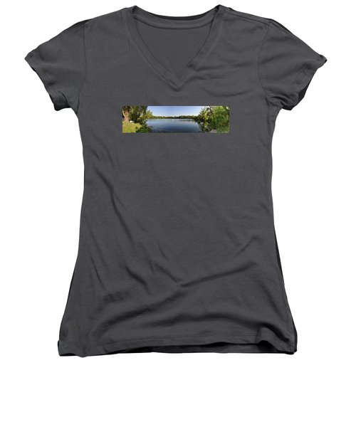 Women's V-Neck T-Shirt (Junior Cut) featuring the photograph Lake Victory by Verana Stark