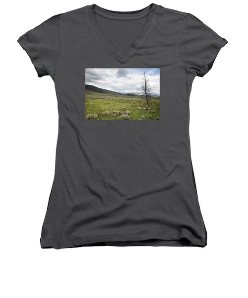 Women's V-Neck T-Shirt (Junior Cut) featuring the photograph Lamar Valley No. 1 by Belinda Greb