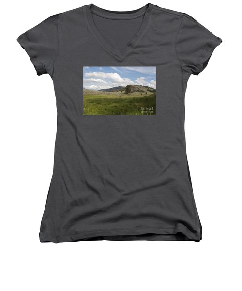 Women's V-Neck T-Shirt (Junior Cut) featuring the photograph Lamar Valley No. 2 by Belinda Greb
