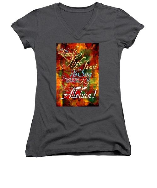High Feast Of The Lamb Women's V-Neck T-Shirt (Junior Cut) by Chuck Mountain