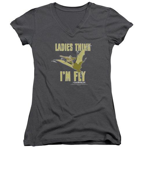 Land Before Time - I'm Fly Women's V-Neck T-Shirt (Junior Cut)