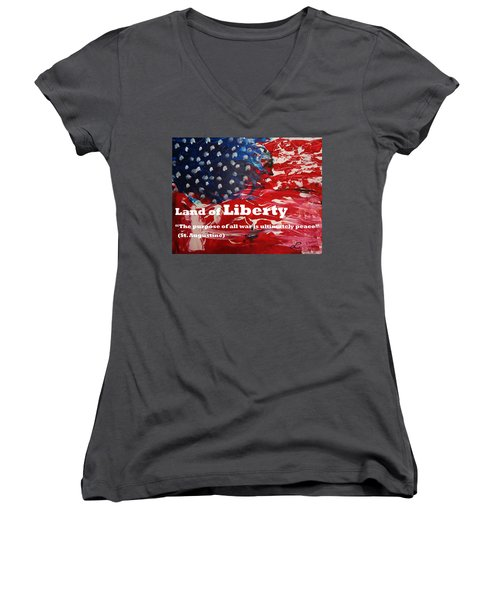 Land Of Liberty Print Women's V-Neck (Athletic Fit)
