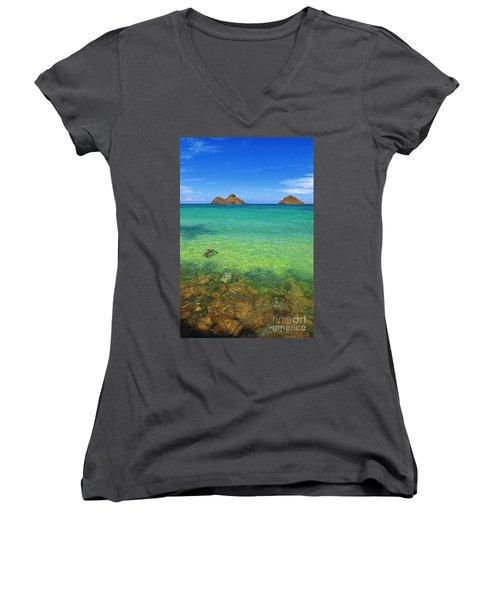 Lanikai Beach Sea Turtle Women's V-Neck T-Shirt (Junior Cut) by Aloha Art