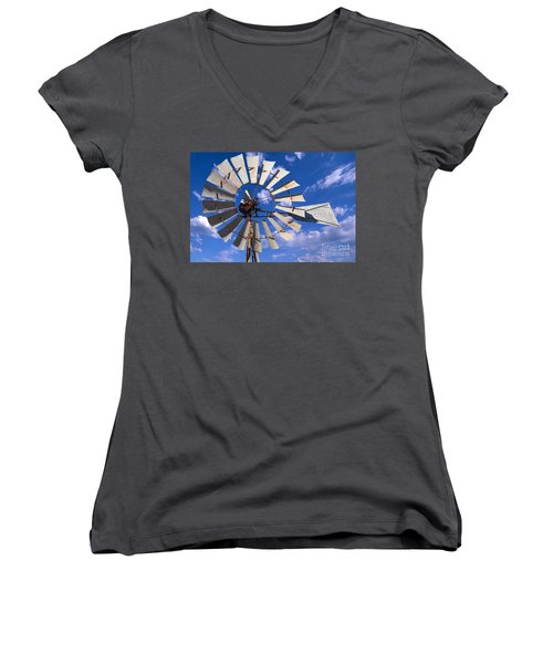 Large Windmill Women's V-Neck (Athletic Fit)