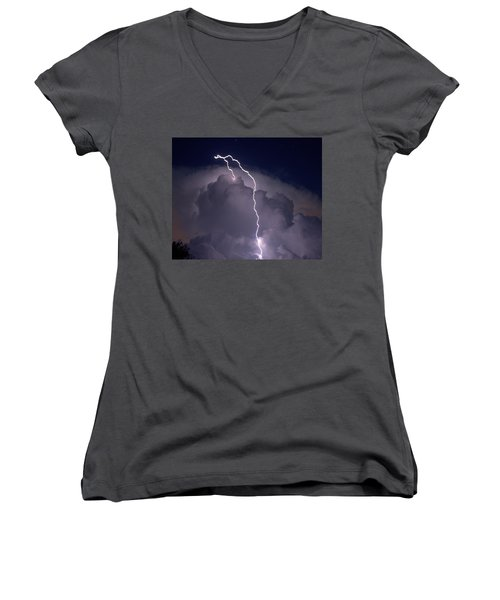Women's V-Neck T-Shirt (Junior Cut) featuring the photograph Lashing Out by Charlotte Schafer