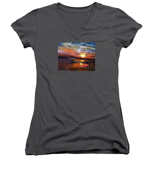 Women's V-Neck T-Shirt (Junior Cut) featuring the painting Last Sun Of Day by Michael Helfen