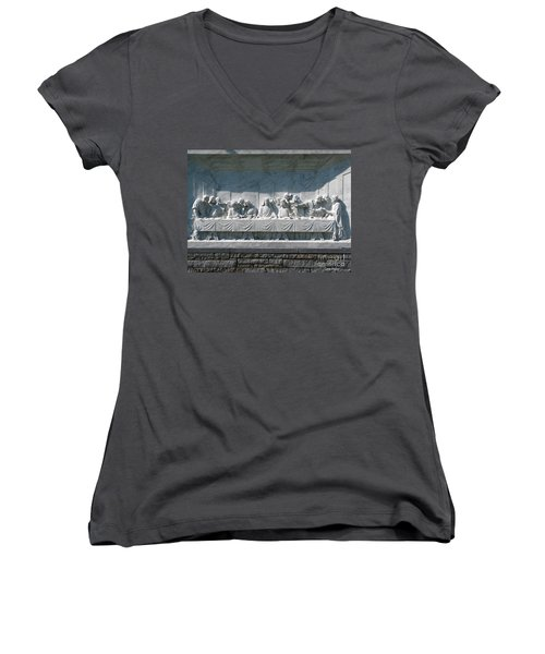 Women's V-Neck T-Shirt (Junior Cut) featuring the photograph Last Supper by Greg Patzer