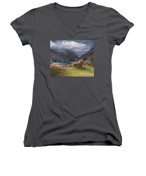 Last Train To Crawford Notch Depot Women's V-Neck T-Shirt (Junior Cut) by Nancy Griswold