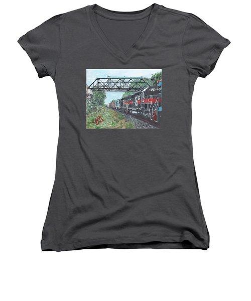 Last Train Under The Bridge Women's V-Neck T-Shirt