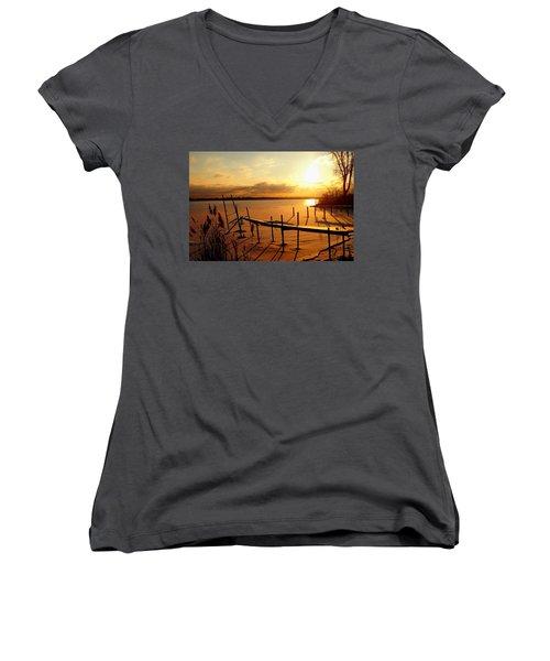 Last Winter ? Women's V-Neck T-Shirt (Junior Cut) by Daniel Thompson