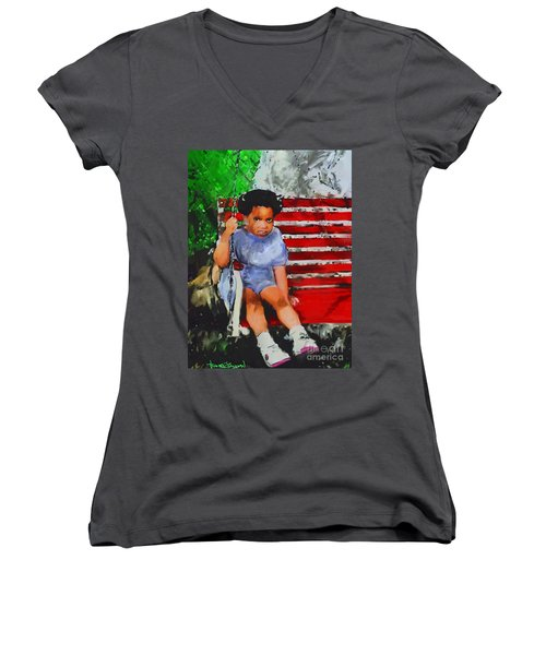 Women's V-Neck T-Shirt (Junior Cut) featuring the painting Lauren On The Swing by Vannetta Ferguson
