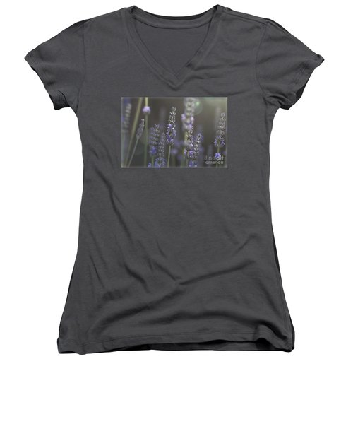 Women's V-Neck T-Shirt (Junior Cut) featuring the photograph Lavender Flare. by Clare Bambers