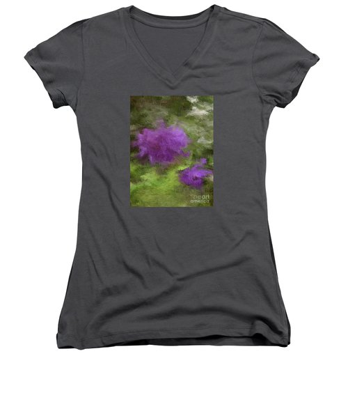 Women's V-Neck T-Shirt (Junior Cut) featuring the digital art Monet Meadow by The Art of Alice Terrill