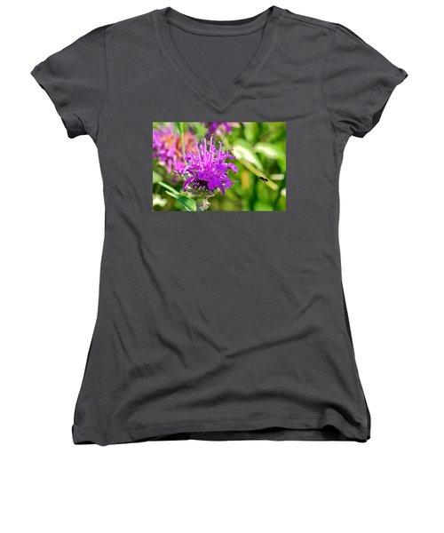 Lavender Pink Bee Balm Wild Bergamot Women's V-Neck T-Shirt (Junior Cut) by Karon Melillo DeVega