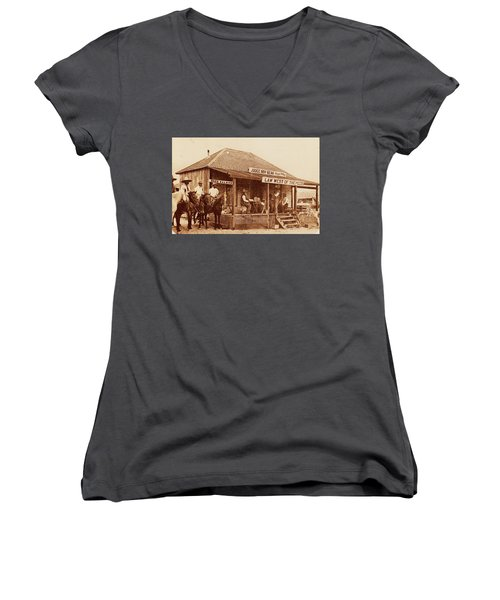 Law West Of The Pecos Women's V-Neck T-Shirt (Junior Cut) by Pg Reproductions