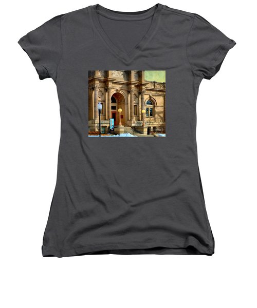 Lawrence City Library Women's V-Neck T-Shirt (Junior Cut) by Liane Wright