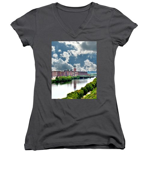 Lawrence Ma Historic Clock Tower Women's V-Neck (Athletic Fit)