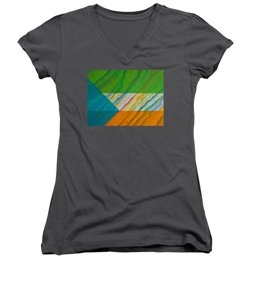 Women's V-Neck T-Shirt (Junior Cut) featuring the mixed media Layover by Michele Myers