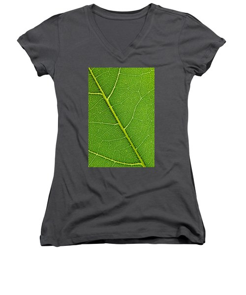 Women's V-Neck T-Shirt (Junior Cut) featuring the photograph Leaf Detail by Carsten Reisinger