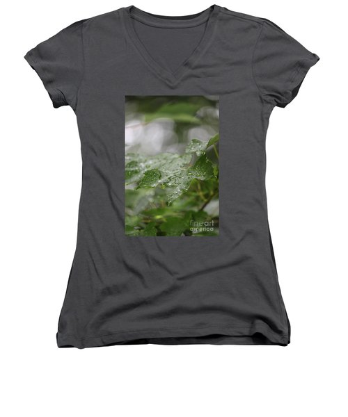 Leafy Raindrops Women's V-Neck (Athletic Fit)