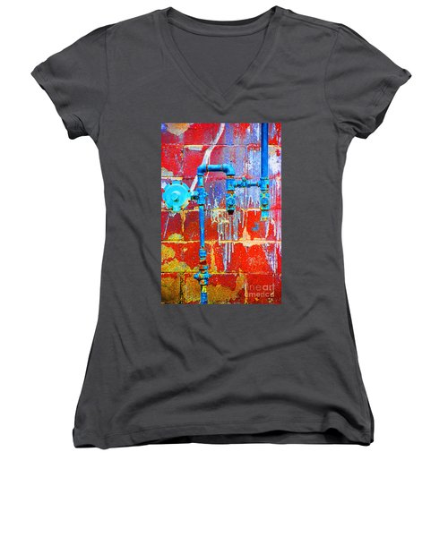 Women's V-Neck T-Shirt (Junior Cut) featuring the photograph Leaky Faucet by Christiane Hellner-OBrien