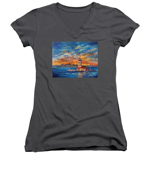 Women's V-Neck T-Shirt (Junior Cut) featuring the painting Leanders Tower  Istanbul by Lou Ann Bagnall