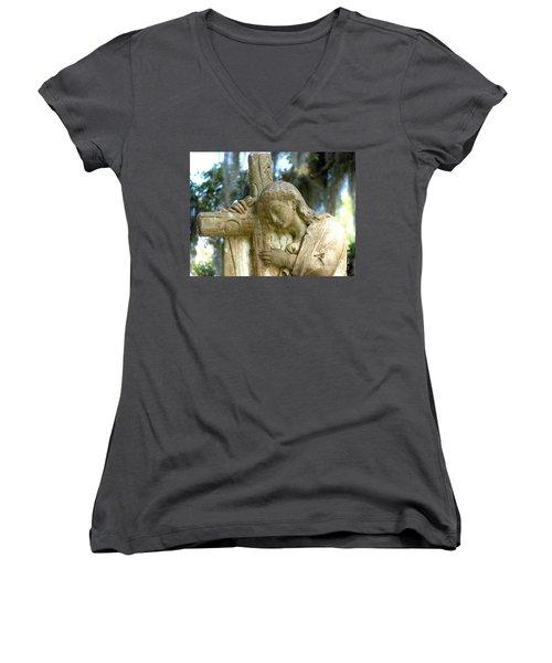 Leaning On The Cross Women's V-Neck T-Shirt