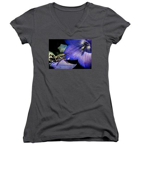 Contemplation Of A Pistil Women's V-Neck T-Shirt (Junior Cut) by Karen Wiles